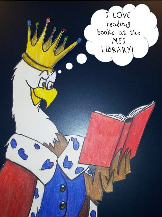 Regal Eagle 8 loves to read books at the MEI Library