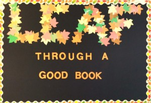 Leaf through a good book bulletin board