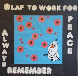 Olaf to work for peace always cropped remember bulletin board