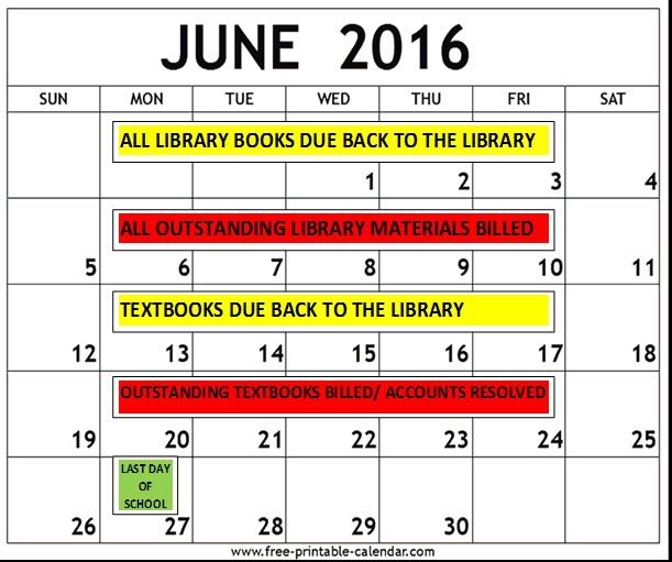 June 2016 Library Calendar